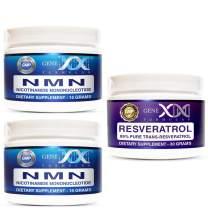 Genex 30 Gram NMN/Resveratrol Combo Pack - 30g Nicotinamide Mononucleotide Powder & 30g 99% Pure Micronized Trans-Resveratrol Powder Direct NAD+ Supplement