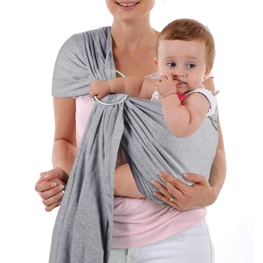 4 in 1 Baby Wrap Carrier and Ring Sling - Use as a Postpartum Belt and Nursing Cover with Free Carrying Pouch - Best Baby Shower Gift for Boy or Girl