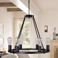 OSAIRUOS Wagon Wheel Vintage 6 Lights Kitchen Island Rustic Pendant Chandelier Farmhouse Rod Iron Chandeliers Ceiling Light Fixture for Dining Living Room Cafe Hallways W22'' (Bulbs Included)
