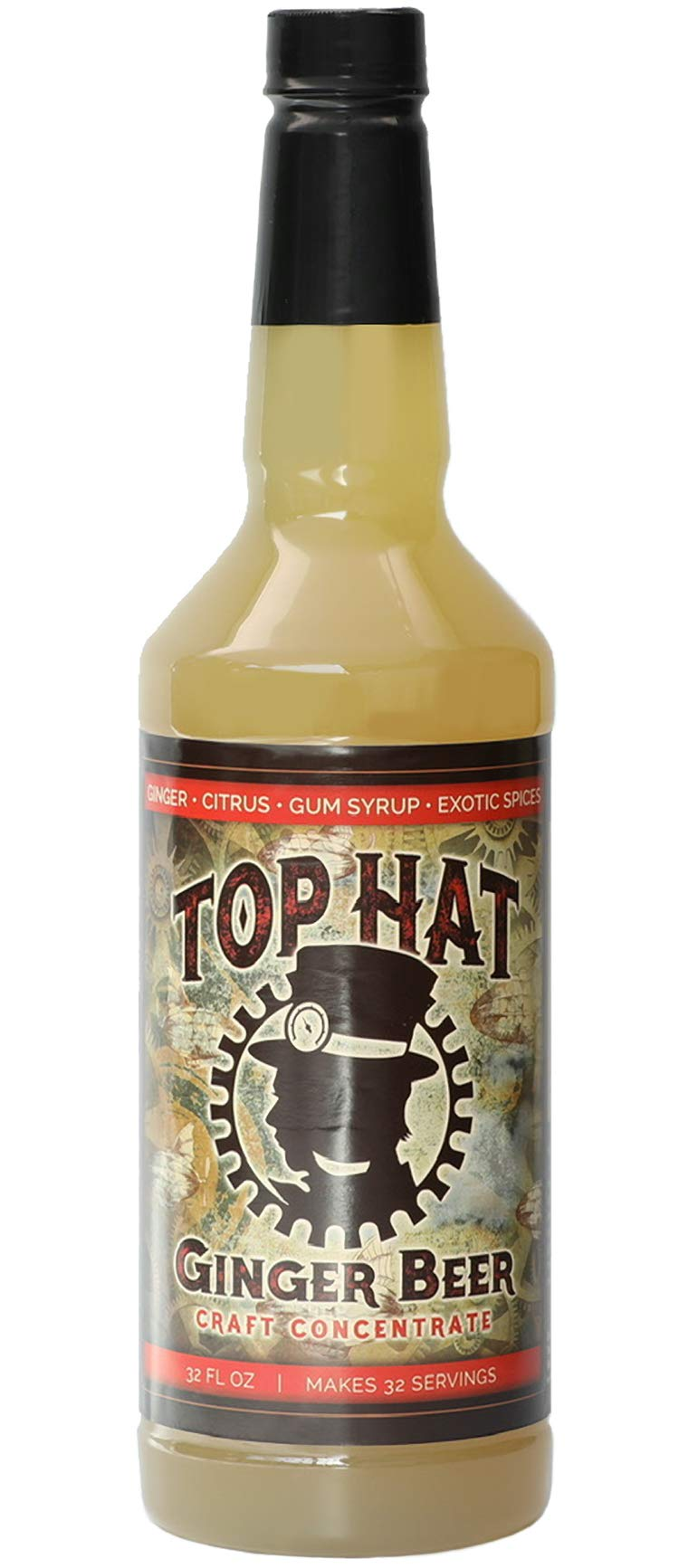 Top Hat Craft Ginger Beer - Ginger Syrup - Moscow Mule Mix (32oz Syrup Concentrate) - Makes 6 Quarts of Ginger Beer at Home - Works with SodaStream
