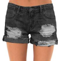 roswear Women's Ripped Mid Rise Stretchy Denim Jeans Shorts
