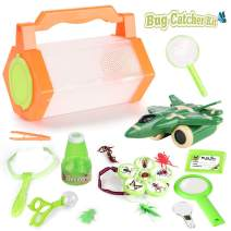 Outdoor Explorer Kit & Nature Exploration Kit for Kids, Magnifying Glass, Critter Case and Butterfly Net Great Toys Kids Gift for Boys & Girls Age 3-12 for Camping Hiking