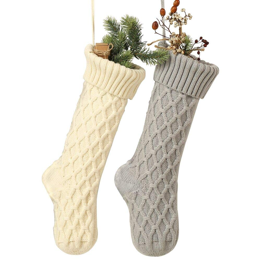 Free Yoka Cable Knit Christmas Stockings Kits Solid Color White and Gray Classic Decorations 18 Inches Set of 2