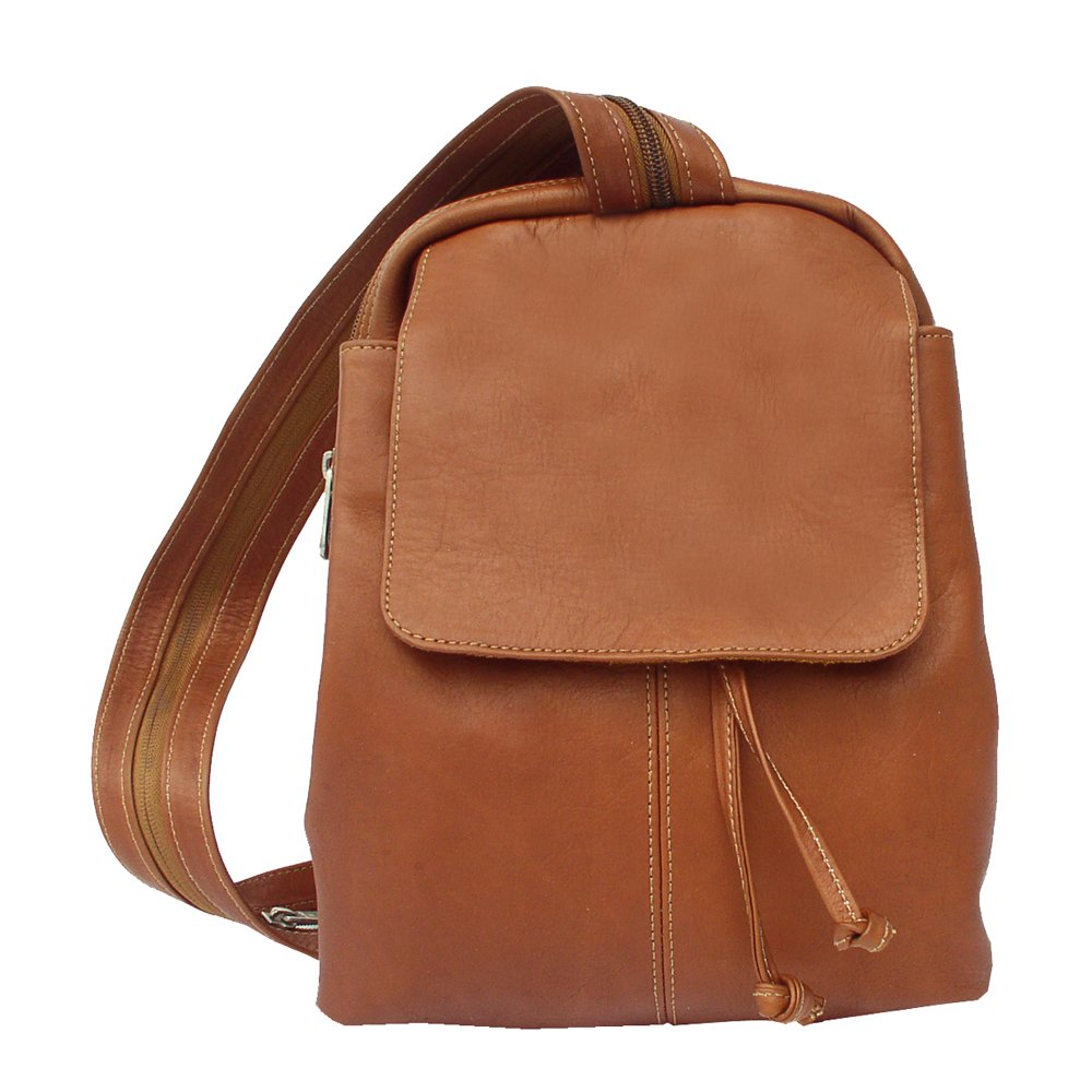 Piel Leather Small Drawstring Backpack, Saddle, One Size