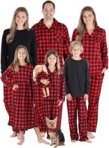 SleepytimePJs Christmas Family Matching Red Black Buffalo Plaid Flannel Pajamas