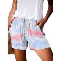 UOFOCO Women's Summer Casual Shorts Solid Color Drawstring Elastic Waist Short Pants with Pockets