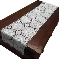 """USTIDE Rustic Floral Table Runner Hand Crochet Table Doily White Cotton Lace Table Decoration for Coffee Table 15""""X70"""""""
