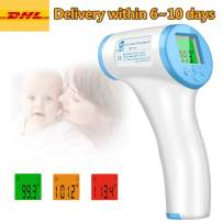 Forehead Thermometer JAKPAK Digital Infrared Thermometer Non-Contact, Precision Digital Thermometer with 3 Colors Backlight LCD Display for Baby Kids and Adults,˚C / ˚F Adjustable with Fever Alert