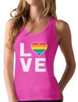 Gay Love Rainbow Heart Tank Top Gay Pride Awareness Racerback Tank Top