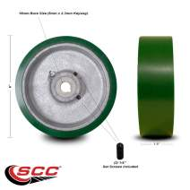 """6"""" x 1.5"""" Green Polyurethane Tread on Cast Iron Keyed Drive Wheel - 16mm Plain Bore with Two 1/4"""" Set Screws - Service Caster Brand"""