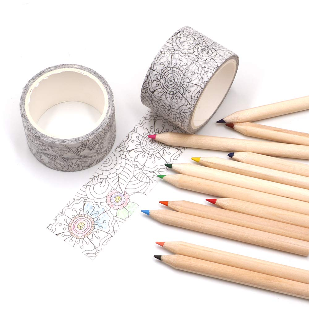 Manzawa Drawing Washi Masking Tape Set of 2 Rolls, 30mmx5m Wide Black Withe Washi Tape,Thick Core Colored Pencils, 2.5 Millimeter Cores, Assorted Colors, 12 Count