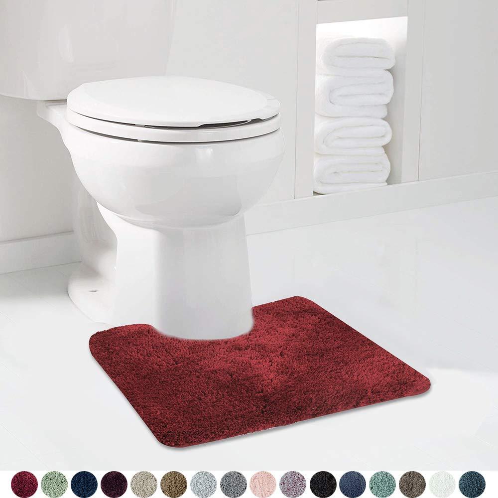 Walensee Bathroom Contour Rug (20x24, Red Sedona) Non Slip Bath Mat for Bathroom Water Absorbent Soft Microfiber Shaggy Bathroom Mat Machine Washable Bath Rug for Bathroom U Shape Toilet Rug