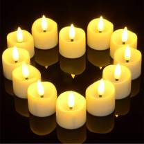 Battery Flickering Tea Lights with Timer, Punasi Set of 12 Battery Operated LED Realistic Electronic Flameless Candles with Fake Candle Wicks for Home Room Party Wedding Decor - Warm White
