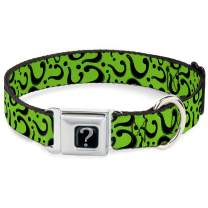 Buckle-Down Seatbelt Buckle Dog Collar - Question Mark Scattered Lime Green/Black