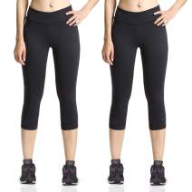 BALEAF Women's Yoga Capri Workout Running Cropped Leggings Inner Pocket Non See-Through Fabric