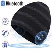 Bluetooth Hat Beanie for Mens Gifts, Music Hat with Wireless Bluetooth V5.0 Winter Hat Built-in HD Stereo Speakers & Microphone with Rechargeable USB for Winter Fitness Outdoor Sports (Classic Stripe)
