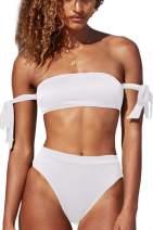 Almaree Women's Tie Side High Waist Two Piece Swimsuits Bandeau Bikini Sets