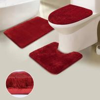 Uphome Shaggy 3-Piece Bath Rug Set, Non Slip Microfiber Soft Tub- Shower Mat Contour Rug Toilet Lid Tank Cover Combo Great Absorbency Machine Washable, Solid Dark Red