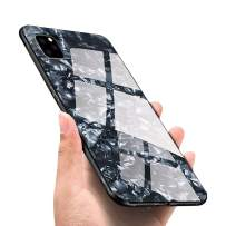 LANYOS Compatible iPhone 11 Pro Case, Ultra-Thin Tempered Glass Pattern Painted Back Cover + Soft TPU Bumper Frame (5.8 inch 2019) (Black Shell)