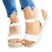 White Sandals for Women Flat Leather Fashion 2019 Comfortable Espadrille Platform Size 41