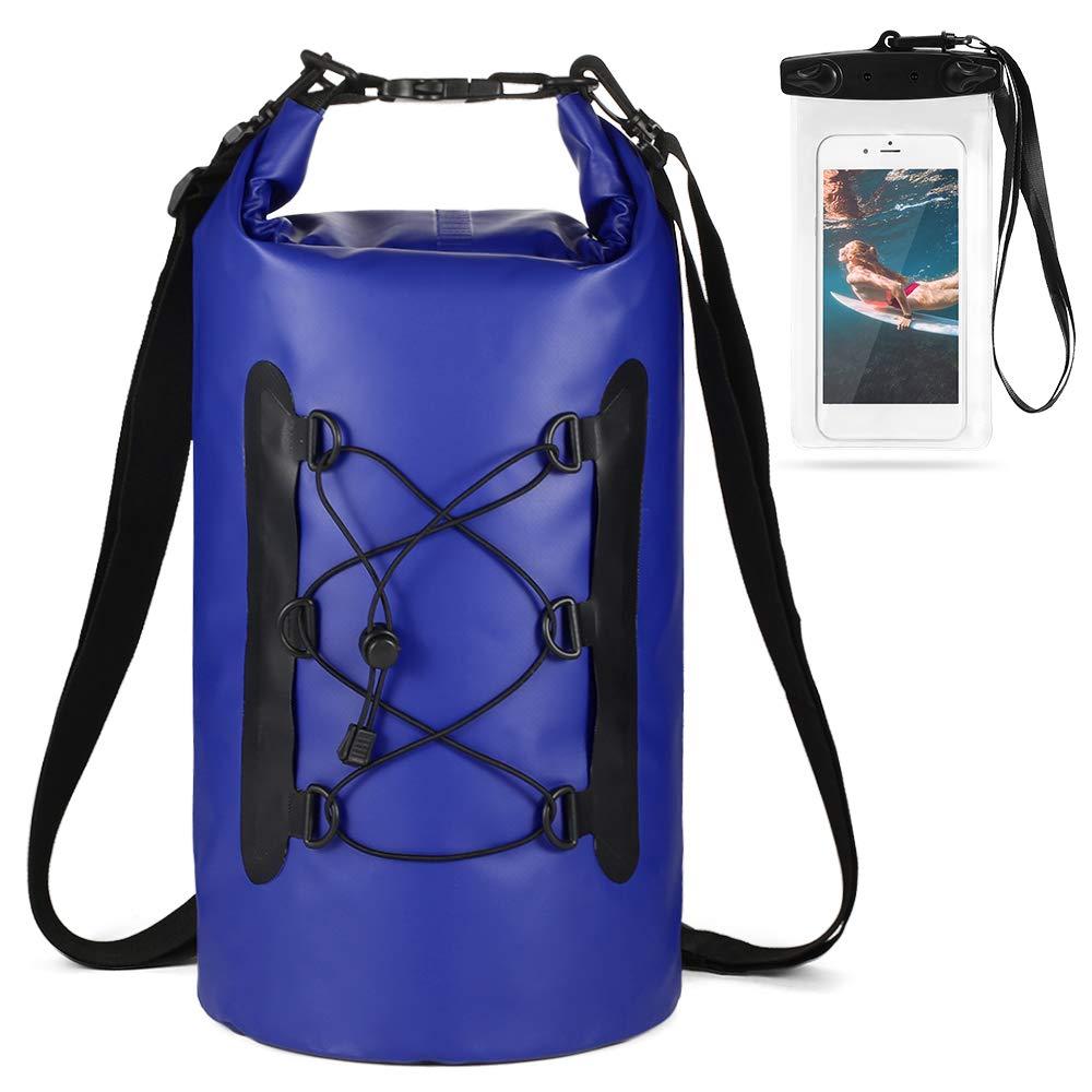 lixada Waterproof Dry Bags Set-Dry Bag 2 Zip Lock Seals & Detachable Shoulder Strap,Phone Case Bag Roll Top Dry Sack-Can Be Submerged Into Water Swimming,Kayak,Rafting & Boating
