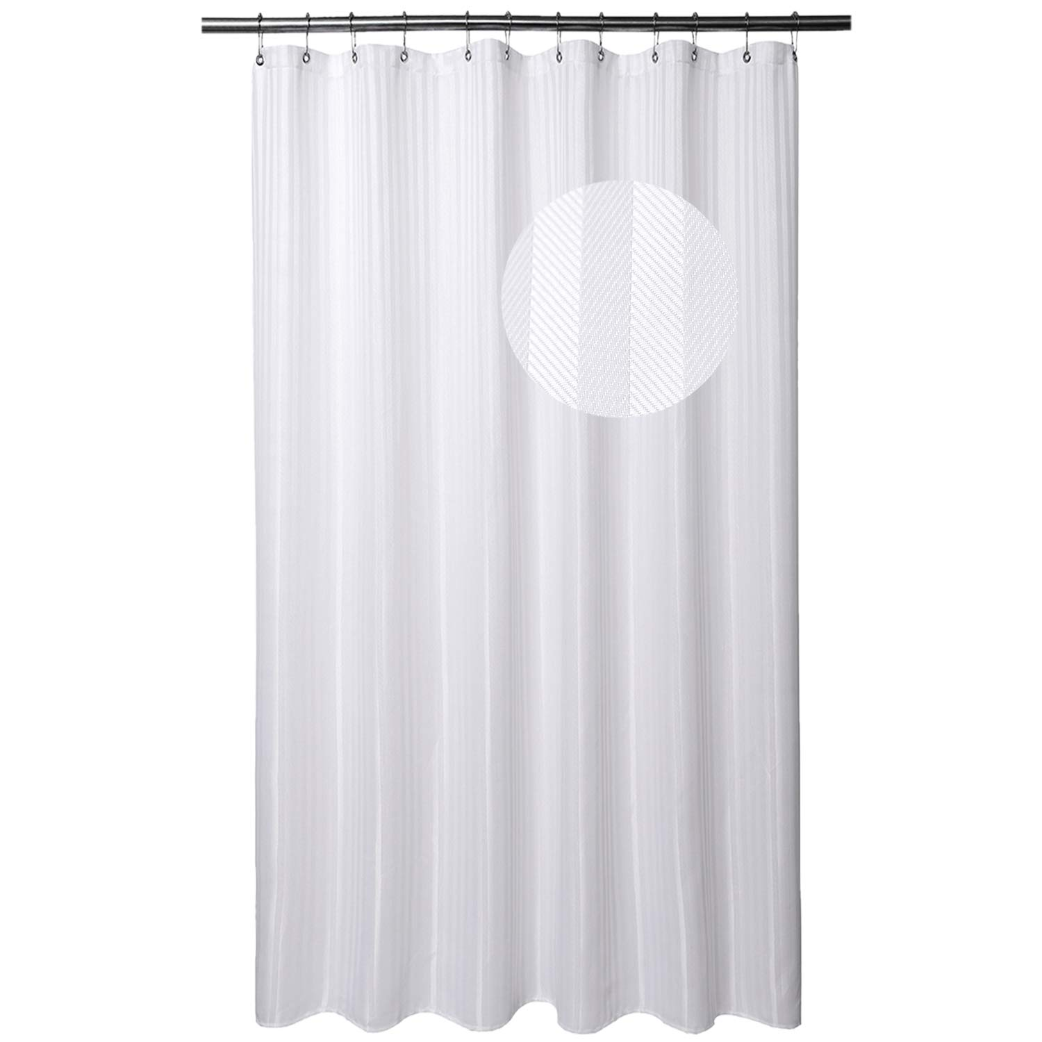 Barossa Design Extra Long Shower Curtain with 84 Inch Height - Herringbone & Striped Fabric, Hotel Grade, Machine Washable, Water Repellent, 160 GSM Heavyweight, White, 71x84