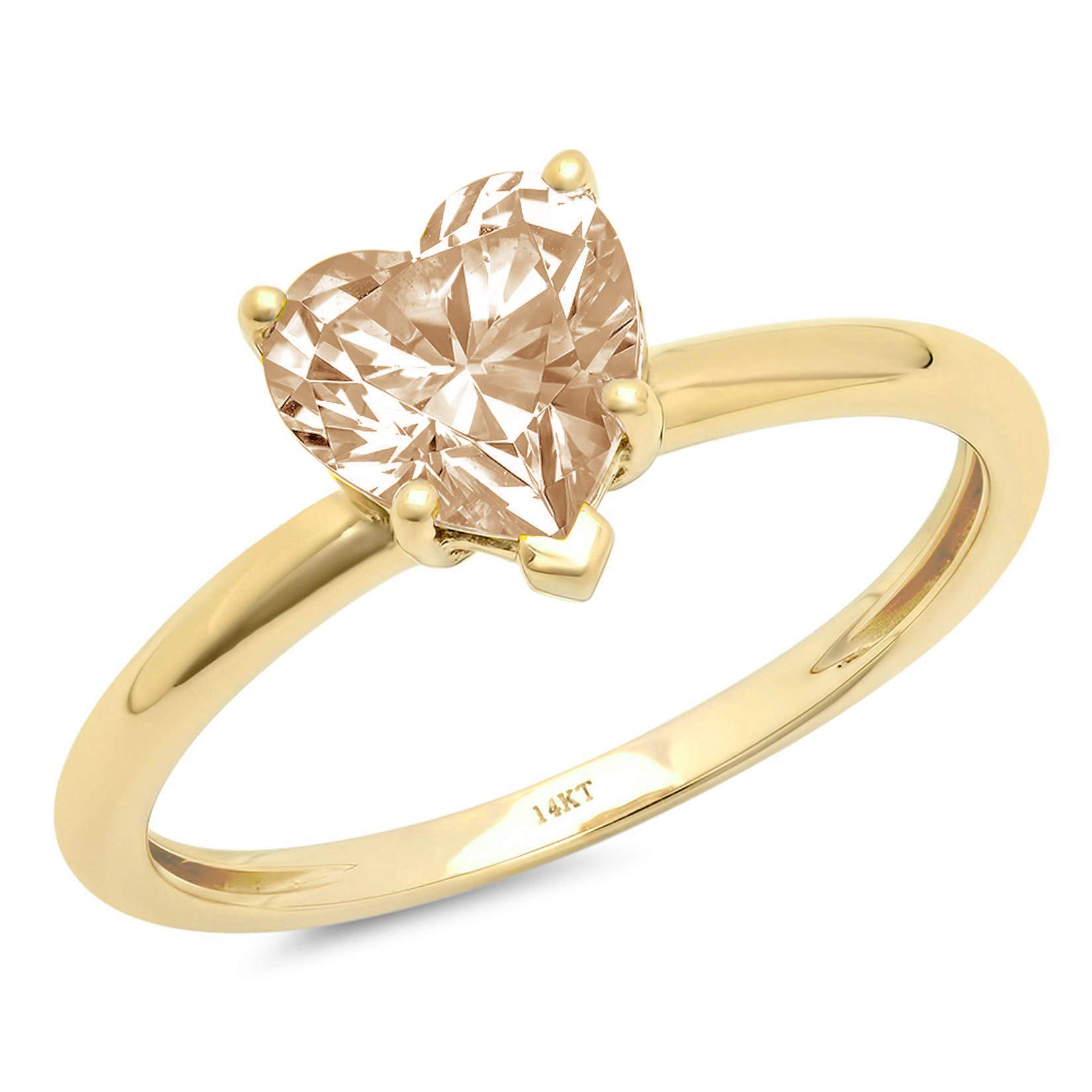 0.95ct Brilliant Heart Cut Solitaire Brown Champagne Simulated Diamond CZ Ideal VVS1 D 5-Prong Classic Designer Statement Ring Solid Real 14k Yellow Gold for Women