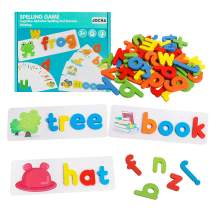 JOCHA See and Spell Learning Toys Sight Words Games Matching Letter Puzzles Montessori Preschool Educational Toys for Kids Boys Girls Age 3+ Years Old (28 Flash Cards and 52 Wooden Alphabet Blocks)