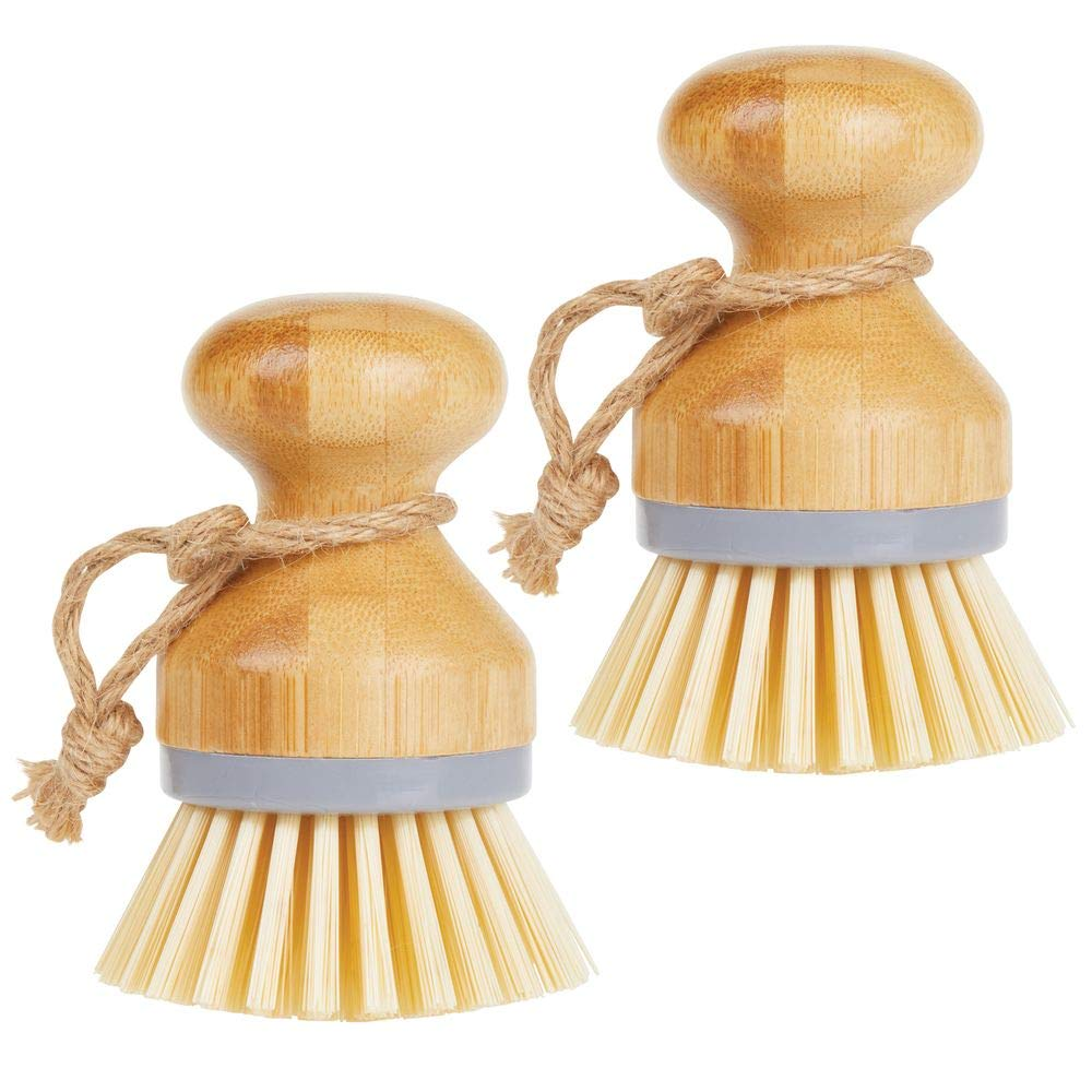 mDesign Bamboo Round Mini Palm Scrub Brush, Stiff Bristles - Wet Cleaning Scrubber - Wash Dishes, Pots, Pans, Vegetables - for Kitchen Sink, Bathroom, Household Cleaning - 2 Pack - Gray/Natural Wood