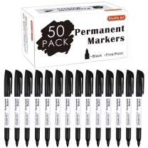 Permanent Markers,Shuttle Art 50 Pack Black Permanent Marker set,Fine Point, Works on Plastic,Wood,Stone,Metal and Glass for Doodling, Marking