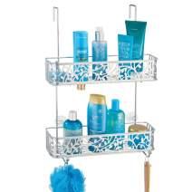 mDesign Wide Decorative Metal Over Shower Door Bathroom Tub & Shower Caddy, Hanging Storage Organizer Center - Built-in Hooks, Baskets on 2 Levels for Shampoo, Body Wash, Loofahs - Silver