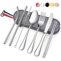 Travel Utensils with Case, E-far 8-Piece Reusable Camping Silverware Set, Portable Stainless Steel Cutlery Flatware Set Includes Knife, Fork, Spoon, Chopsticks, Straws, Cleaning Brush (Silver)
