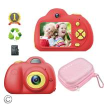 Feeyea Kids Camera for 5-10 Year Old Girls,Compact Kids Camera with Carrying Case and 18 Million pixelsl Dual Lens 2.0 inch HD Screen with Mic,Red(32GB TF Card Included)
