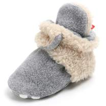 Sawimlgy Baby Boys Girls Soft Fleece Booties Stay On Slippers Shoe Socks Newborn Infant Toddler Soft Soles Grippers Non-Skid Crib Winter Shoe First Gift