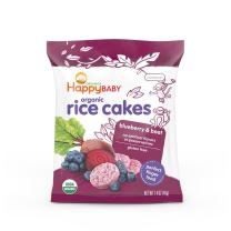 Happy Baby Organic Baby Food Rice Cakes Blueberry & Beet, 1.4 Ounce Bag Puffed Brown Rice Crackers, Baby Snacks or Toddler Snacks, No Added Colors, Encourages Tactility and Self-Feeding