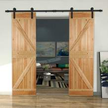 """CCJH 7FT Sliding Barn Door Hardware Kit, Heavy Duty, Smoothly and Silently, Easy to Install, Fit 21"""" Width Double Door Panel, I Shaped Hangers Black"""