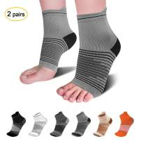 Compression Socks Sleeves (2 Pairs) for Heel Pain Relief, Best Compression Foot Sleeves with Arch Support for Plantar Fasciitis, Heel Pain, Foot & Ankle Support, Light Grey M