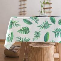 """Lamberia Heavyweight Vinyl Tablecloth Rectangle Wipe Clean PVC Tablecover Oil-Proof Spill-Proof Stain-Resistant (Leaves, 55""""x102"""")"""