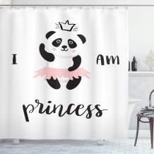 "Ambesonne I am a Princess Shower Curtain, Funny Ballerina Panda Bear Dancing in Pink Skirt Baby Kids Girls, Cloth Fabric Bathroom Decor Set with Hooks, 75"" Long, Grey Rose"