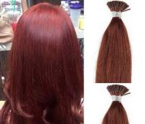 """Hair Faux You 22"""" Remy Straight Pre bonded I Tip Human Hair Extensions Professional Salon, 100 grams 125 strands Per Package, Color #33 Dark Auburn"""