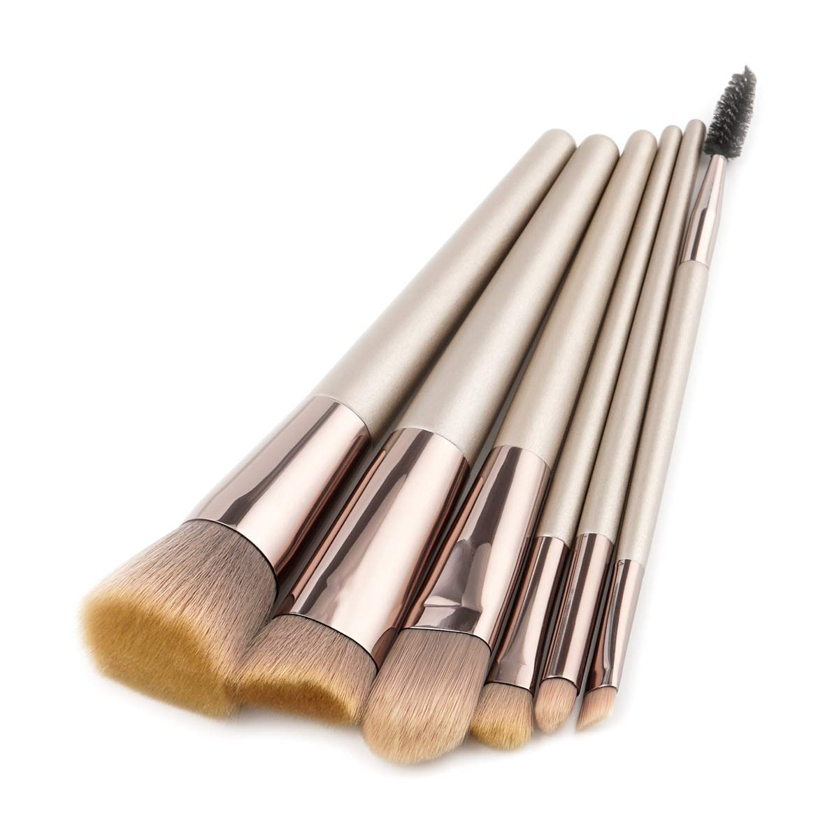 BBL 6pcs Luxury Champagne Gold Makeup Brushes Set, Premium Synthetic Foundation Blending Powder Eye Shadow Concealer Contour Face Kabuki Make Up Brushes cosmetics applicator (Champagne 6pcs yellow)