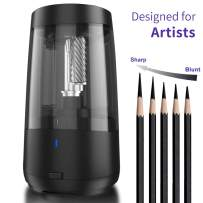 Long Point Pencil Sharpener for Artists,Heavy Duty Electric Pencil Sharpener,Rechargeable Pencil Sharpener for 6.5-8.5mm charcoal pencils & graphite pencils,5 Pencil Nib Options,Super Long Tip (BLACK)