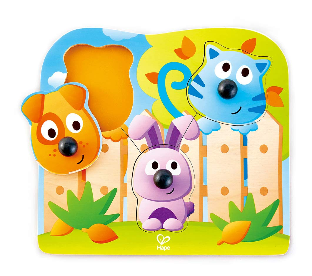 Hape Big Nose Pet Puzzle | Animal Wooden Peg Jigsaw Puzzle Game, Learning Toy for Toddlers
