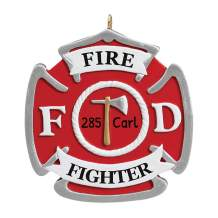 Personalized Fire Badge Christmas Tree Ornament 2020 - Red Firefighter Engine Action Water Hose Rescue Rider Agent Patrol Story Boy Toddler Holiday Emergency New Job Truck Axe - Free Customization
