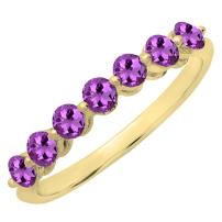 Dazzlingrock Collection 10K Round Morganite Ladies 7 Stones Wedding Band Ring, Yellow Gold, Size 4