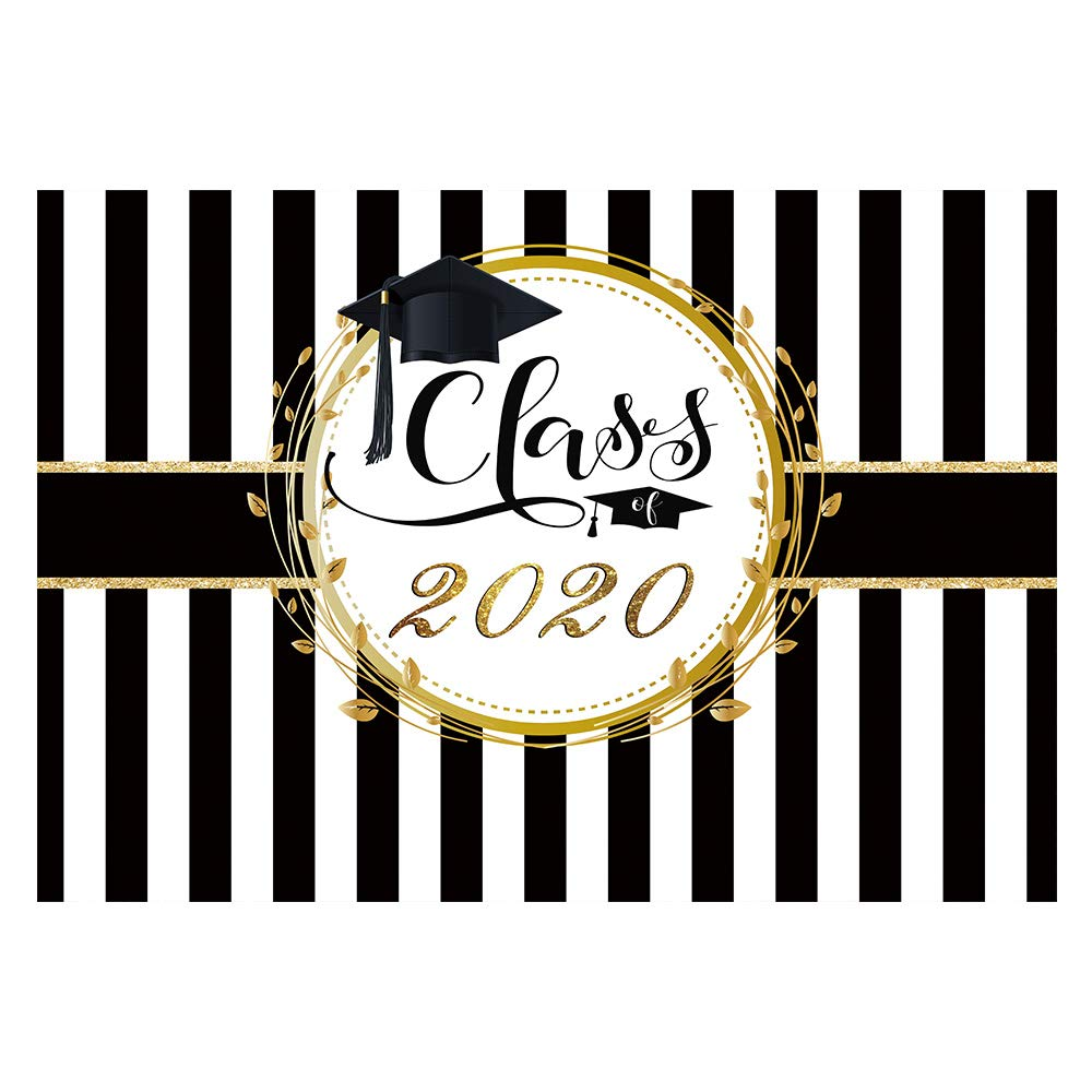 Funnytree 7x5ft Graduation Party Backdrop Class of 2020 Black and White Stripes Photography Background Congrats Grad Prom Decorations Photo Studio Booth Props Cake Table Banner