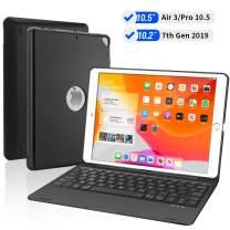 iPad Keyboard Case for New iPad 10.2 7th Generation 2019, iPad Air 3 10.5 2019, iPad Pro 10.5 2017, Bluetooth iPad Keyboard with 135° Smart Hard Cover