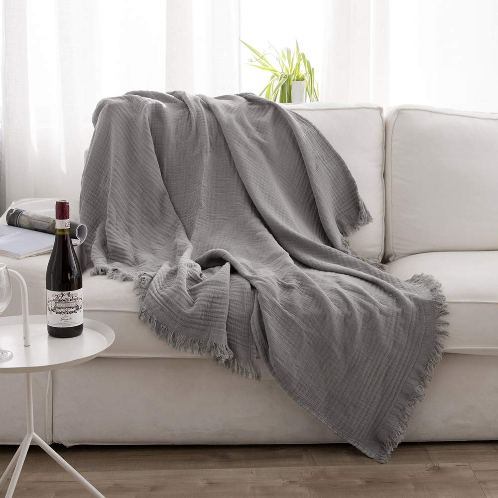 Simple&Opulence Natural Wrinkled Cotton Throw Blanket Knit Woven with Tassels Cozy Blanket Scarf Shawl Farmhouse Decoration (Grey)