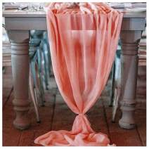 QueenDream Coral Chiffon Table Runner 10ft Sheer Table Runners for Wedding Decor Rustic Boho Party Table Reception Decoration 2 Pieces