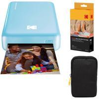 Kodak Mini2 Instant Photo Printer (Blue) Basic Bundle + Paper (20 Sheets) + Deluxe Case
